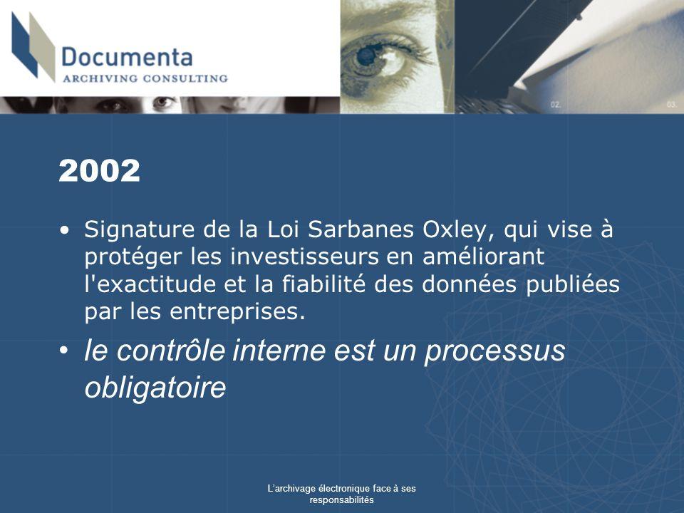 Larchivage électronique face à ses responsabilités 2002 Signature de la Loi Sarbanes Oxley, qui vise à protéger les investisseurs en améliorant l'exac