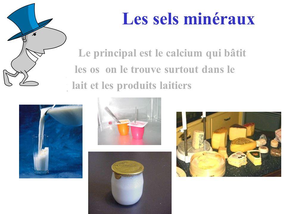 Les sels minéraux Le principal est le calcium qui bâtit les os on le trouve surtout dans le lait et les produits laitiers