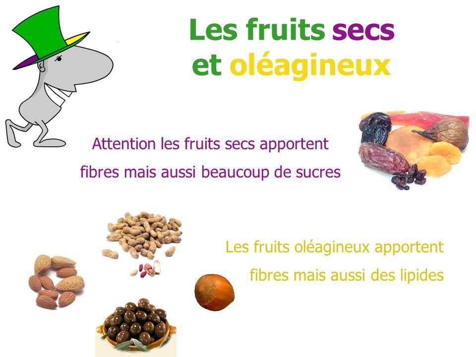 Les fruits secs et oléagineux Attention les fruits secs apportent fibres mais aussi beaucoup de sucres Les fruits oléagineux apportent fibres mais aus
