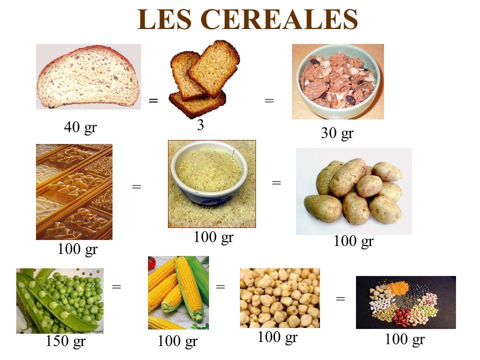 LES CEREALES == = = == = 40 gr 3 30 gr 100 gr 150 gr100 gr