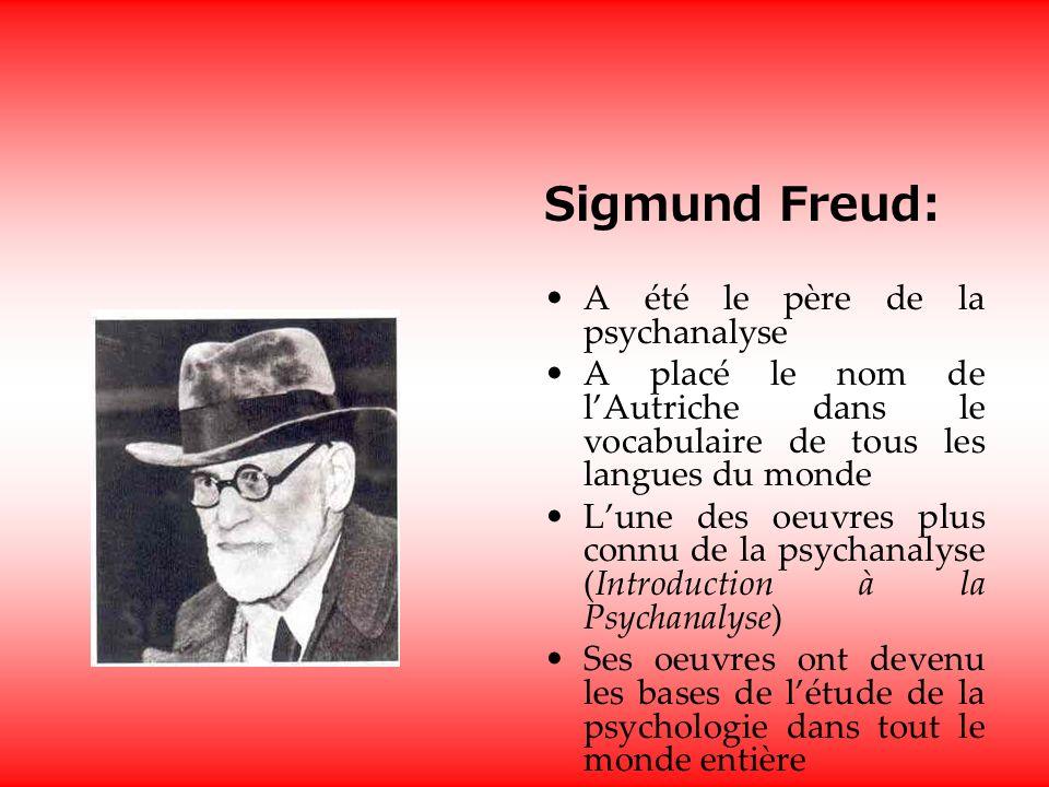 Sigmund Freud: A été le père de la psychanalyse A placé le nom de lAutriche dans le vocabulaire de tous les langues du monde Lune des oeuvres plus connu de la psychanalyse (Introduction à la Psychanalyse) Ses oeuvres ont devenu les bases de létude de la psychologie dans tout le monde entière