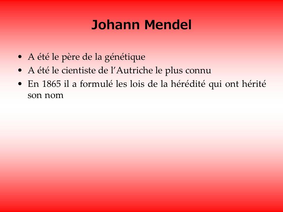 Johann Mendel A été le père de la génétique A été le cientiste de lAutriche le plus connu En 1865 il a formulé les lois de la hérédité qui ont hérité son nom