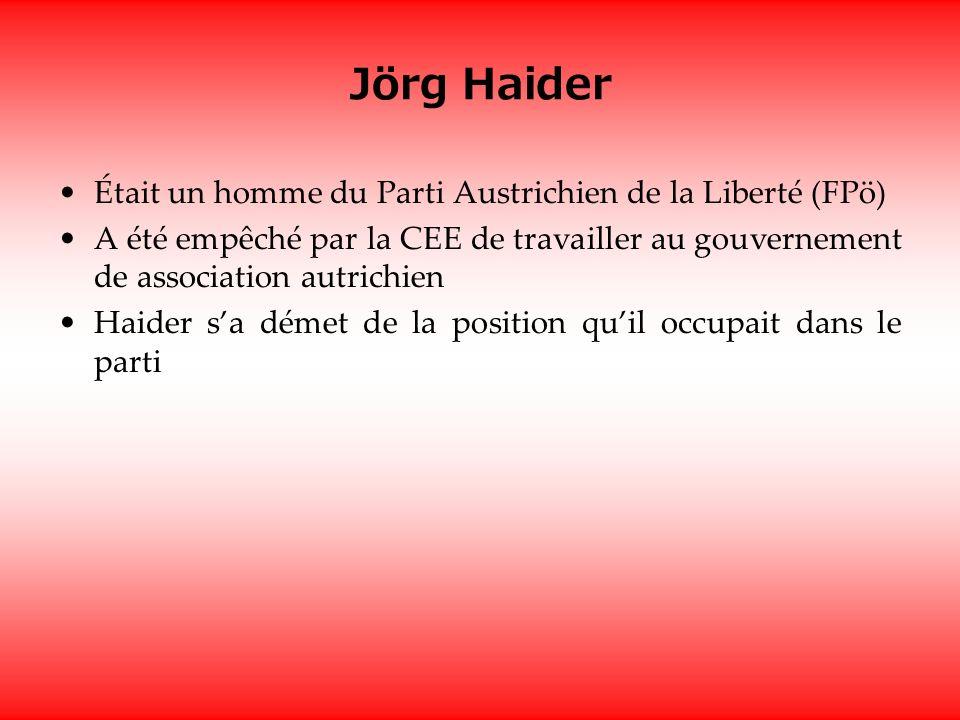 Jörg Haider Était un homme du Parti Austrichien de la Liberté (FPö) A été empêché par la CEE de travailler au gouvernement de association autrichien Haider sa démet de la position quil occupait dans le parti