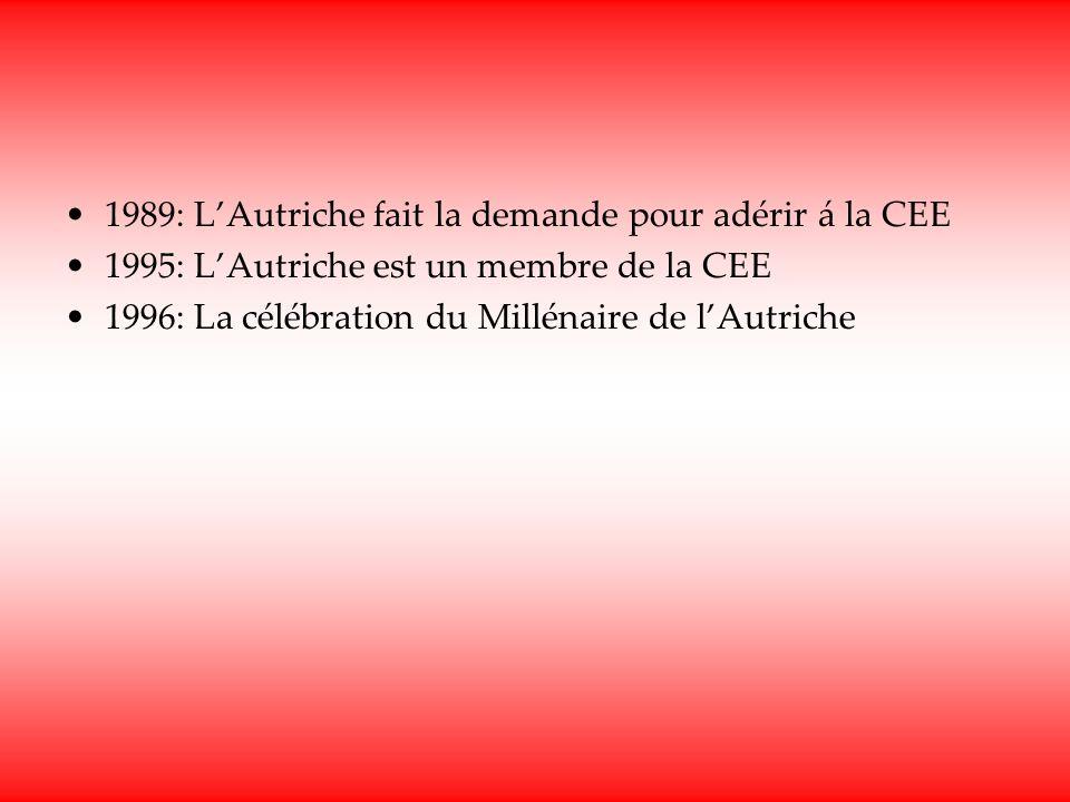 1989: LAutriche fait la demande pour adérir á la CEE 1995: LAutriche est un membre de la CEE 1996: La célébration du Millénaire de lAutriche