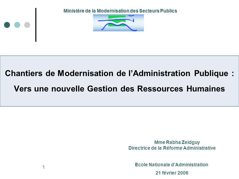 1 Ministère de la Modernisation des Secteurs Publics Chantiers de Modernisation de lAdministration Publique : Vers une nouvelle Gestion des Ressources
