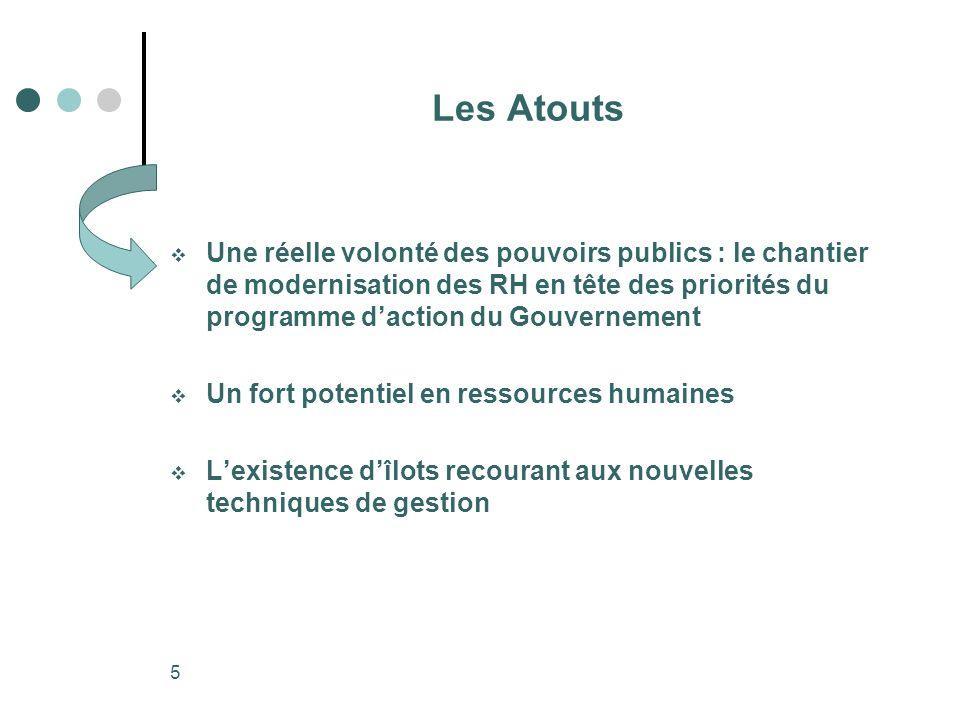 5 Les Atouts Une réelle volonté des pouvoirs publics : le chantier de modernisation des RH en tête des priorités du programme daction du Gouvernement