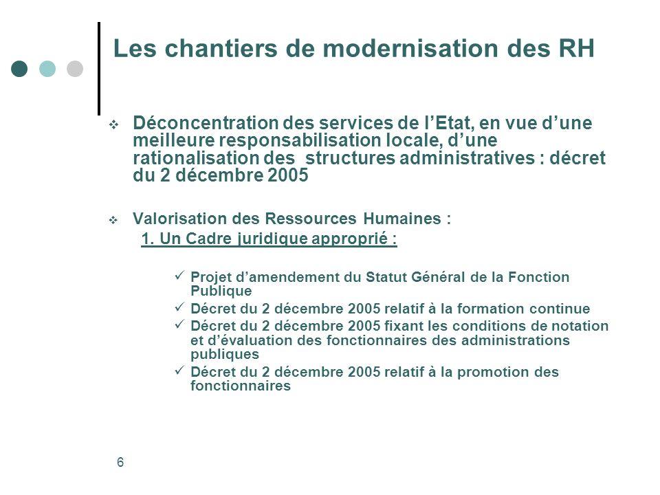 6 Les chantiers de modernisation des RH Déconcentration des services de lEtat, en vue dune meilleure responsabilisation locale, dune rationalisation d