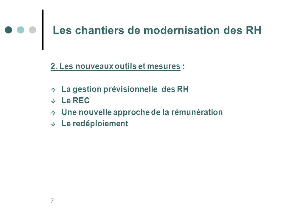 7 Les chantiers de modernisation des RH 2. Les nouveaux outils et mesures : La gestion prévisionnelle des RH Le REC Une nouvelle approche de la rémuné
