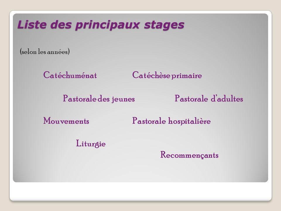 Liste des principaux stages (selon les années) Catéchuménat Catéchèse primaire Pastorale des jeunes Pastorale dadultes Mouvements Pastorale hospitalière Liturgie Recommençants