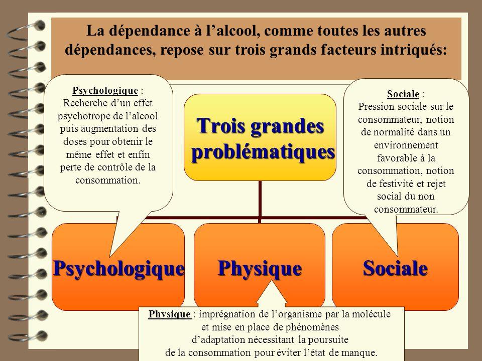 LA DEPENDANCE Trois grandes problématiques problématiques PsychologiquePhysiqueSociale La dépendance à lalcool, comme toutes les autres dépendances, r