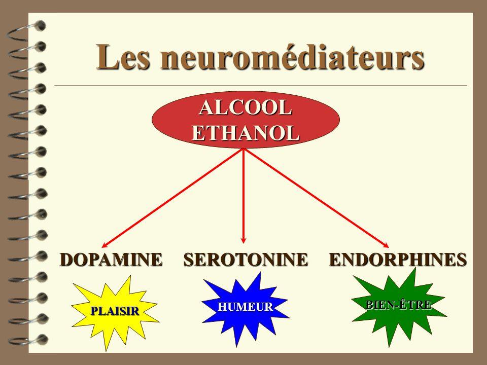 DOPAMINESEROTONINEENDORPHINES Les neuromédiateurs ALCOOLETHANOL PLAISIR HUMEUR BIEN-ÊTRE
