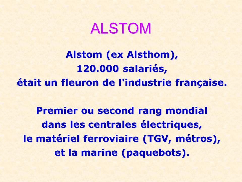 ALSTOM Alstom (ex Alsthom), 120.000 salariés, était un fleuron de l'industrie française. Premier ou second rang mondial dans les centrales électriques