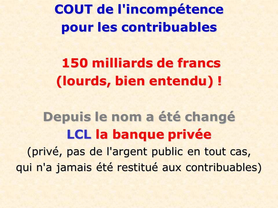 COUT de l'incompétence pour les contribuables 150 milliards de francs 150 milliards de francs (lourds, bien entendu) ! Depuis le nom a été changé LCL