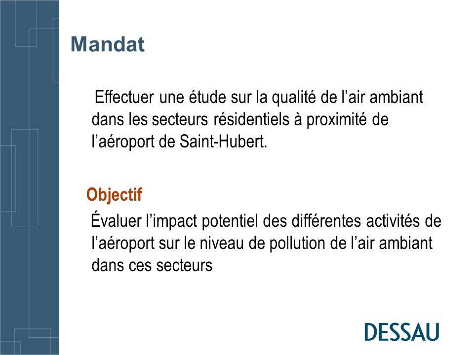 Mandat Effectuer une étude sur la qualité de lair ambiant dans les secteurs résidentiels à proximité de laéroport de Saint-Hubert. Objectif Évaluer li