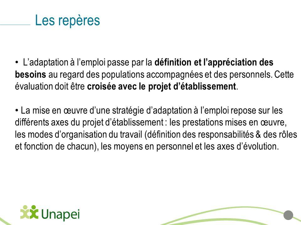 Les repères Ladaptation à lemploi passe par la définition et lappréciation des besoins au regard des populations accompagnées et des personnels. Cette