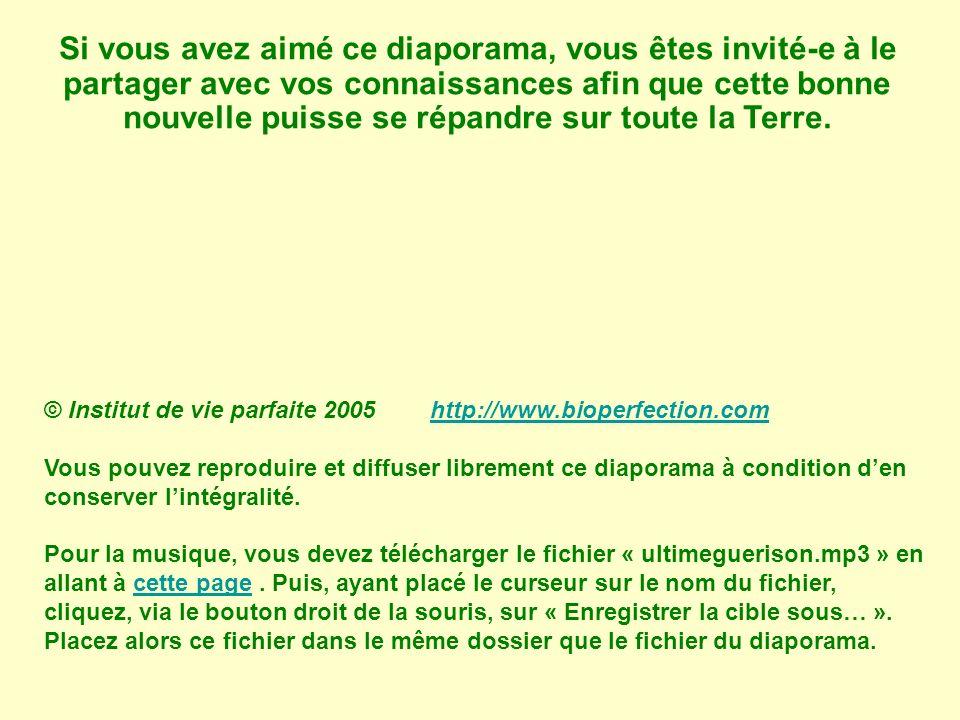 © Institut de vie parfaite 2005 http://www.bioperfection.comhttp://www.bioperfection.com Vous pouvez reproduire et diffuser librement ce diaporama à condition den conserver lintégralité.