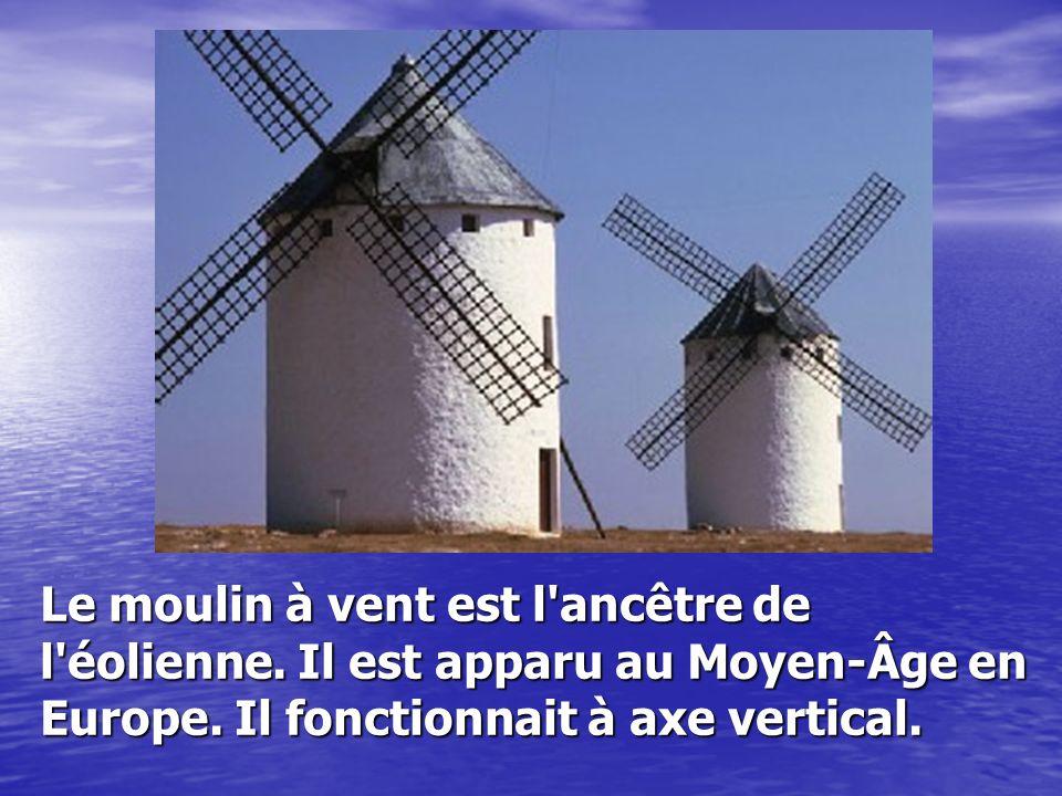 Le moulin à vent est l'ancêtre de l'éolienne. Il est apparu au Moyen-Âge en Europe. Il fonctionnait à axe vertical.