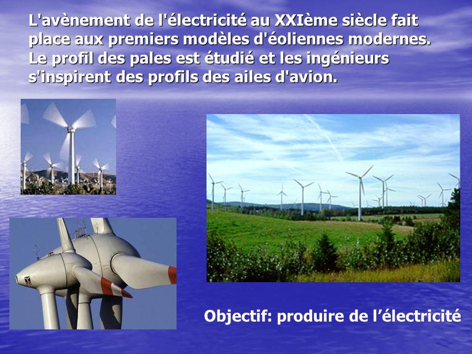 L'avènement de l'électricité au XXIème siècle fait place aux premiers modèles d'éoliennes modernes. Le profil des pales est étudié et les ingénieurs s