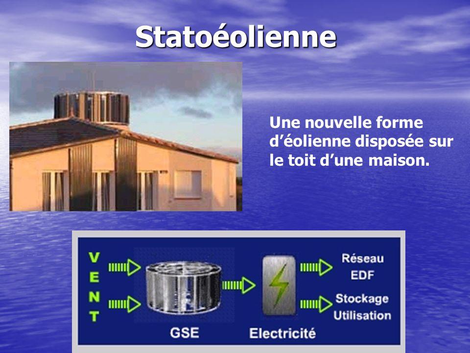 Statoéolienne Une nouvelle forme déolienne disposée sur le toit dune maison.