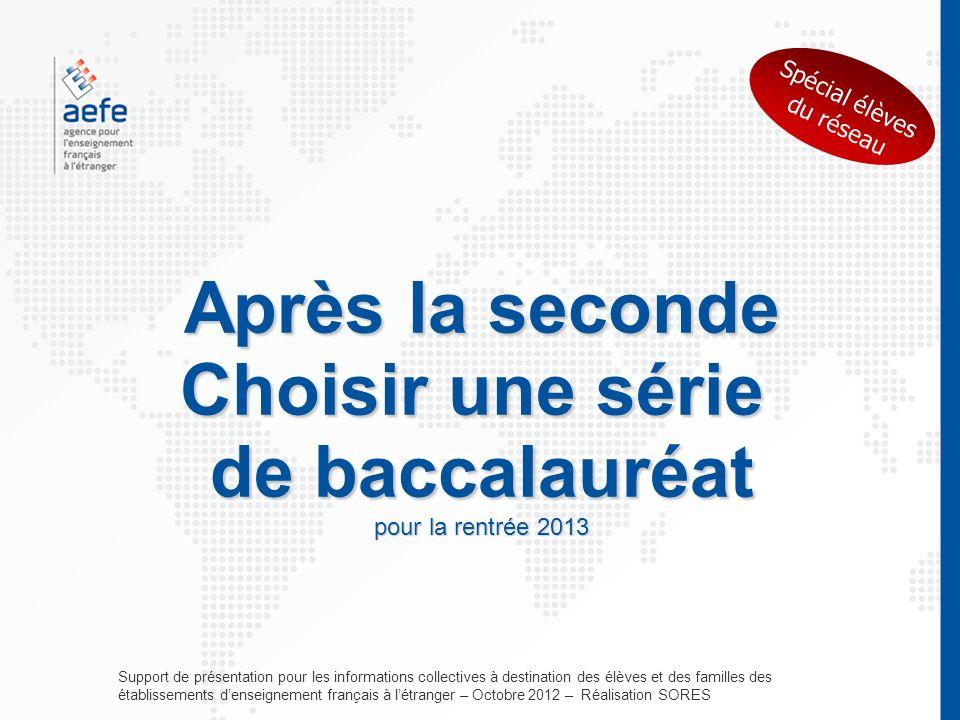 Après la seconde Choisir une série de baccalauréat pour la rentrée 2013 Support de présentation pour les informations collectives à destination des él