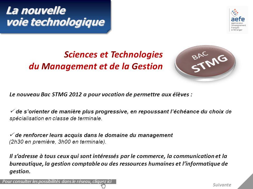 La nouvelle voie technologique Le nouveau Bac STMG 2012 a pour vocation de permettre aux élèves : de sorienter de manière plus progressive, en repouss