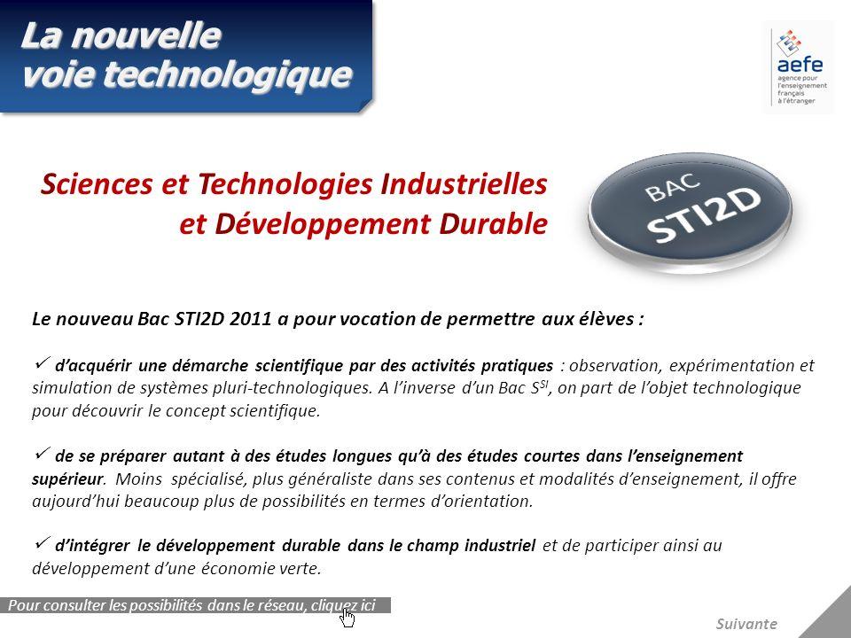 Suivante Sciences et Technologies Industrielles et Développement Durable La nouvelle voie technologique Le nouveau Bac STI2D 2011 a pour vocation de p