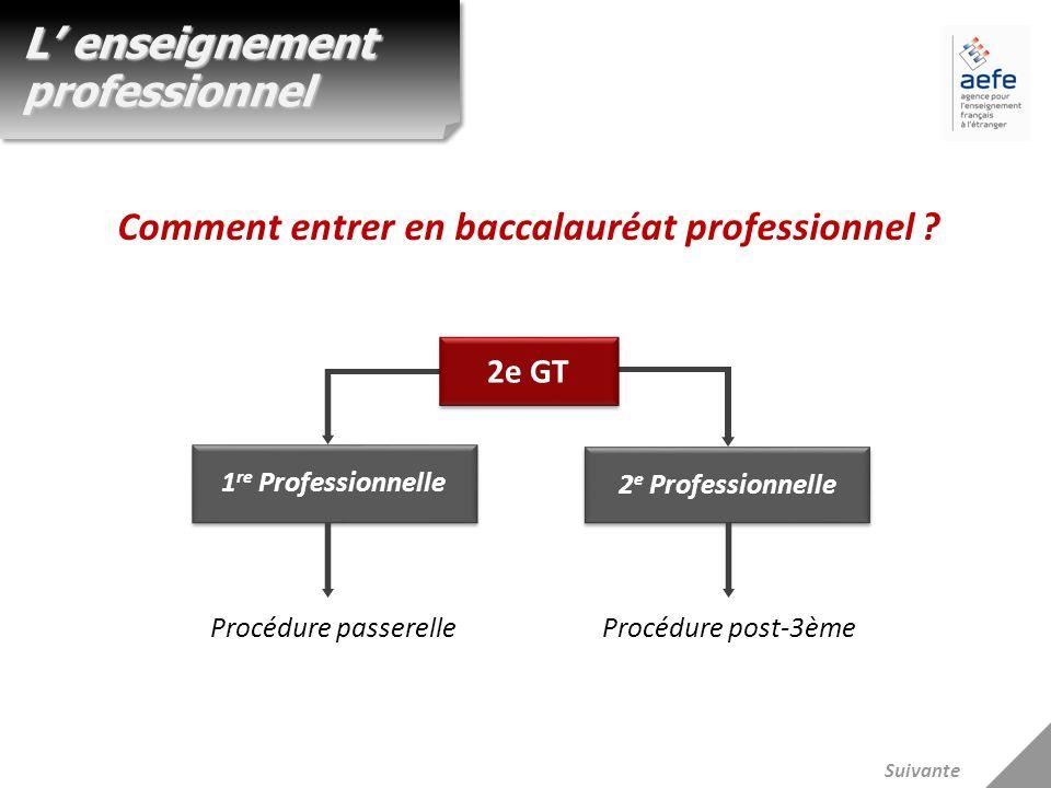 1 re Professionnelle 2 e Professionnelle Procédure passerelleProcédure post-3ème L enseignement professionnel Comment entrer en baccalauréat professio