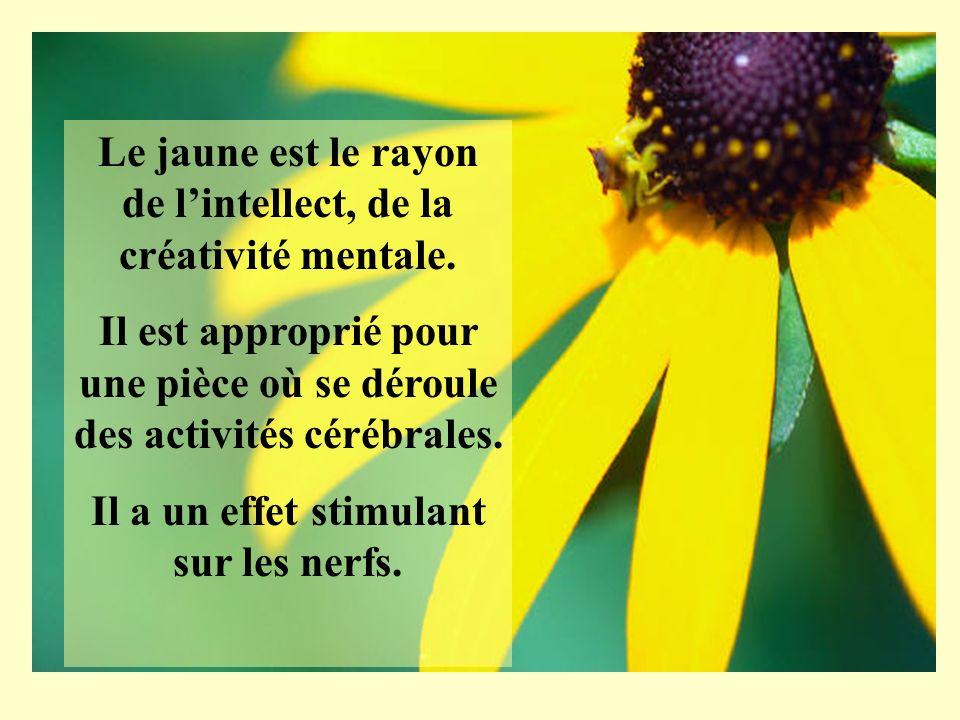 Le jaune est le rayon de lintellect, de la créativité mentale. Il est approprié pour une pièce où se déroule des activités cérébrales. Il a un effet s