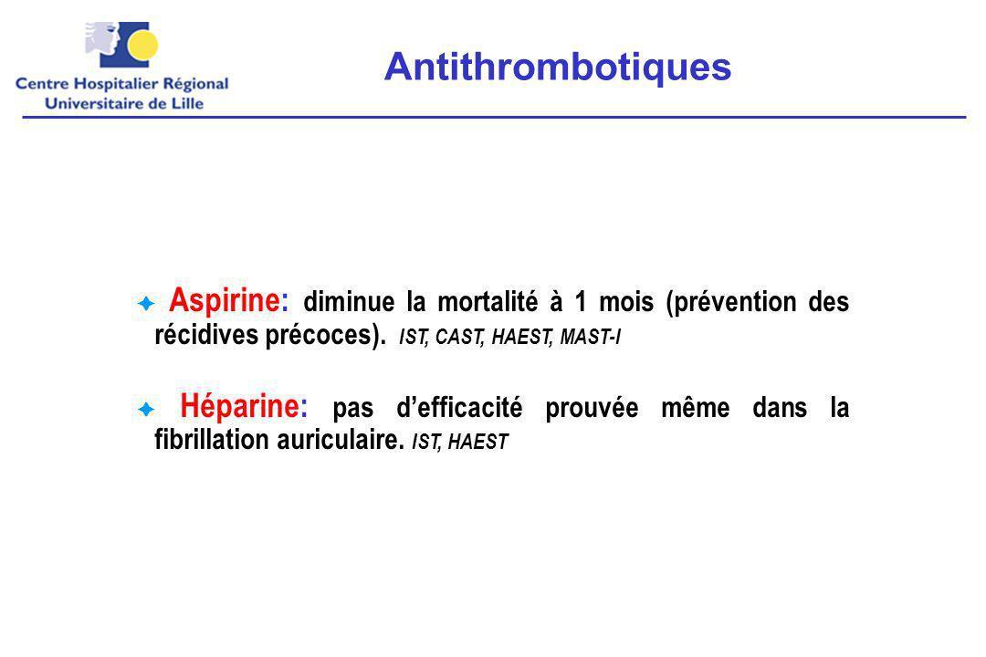 Aspirine: diminue la mortalité à 1 mois (prévention des récidives précoces).