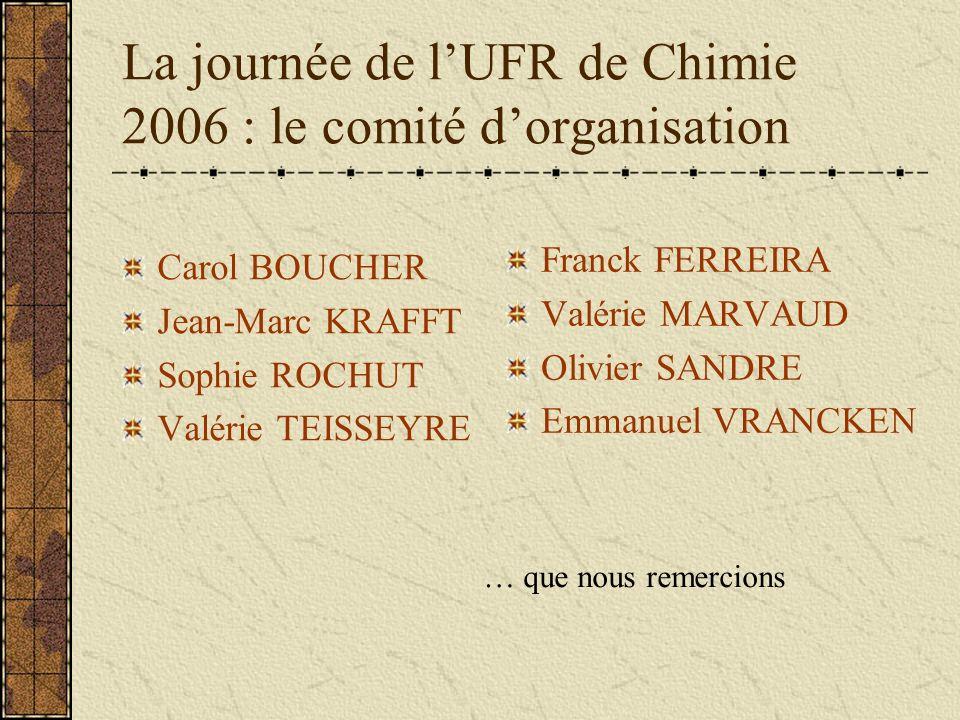 La journée de lUFR de Chimie 2006 : le comité dorganisation Carol BOUCHER Jean-Marc KRAFFT Sophie ROCHUT Valérie TEISSEYRE Franck FERREIRA Valérie MARVAUD Olivier SANDRE Emmanuel VRANCKEN … que nous remercions