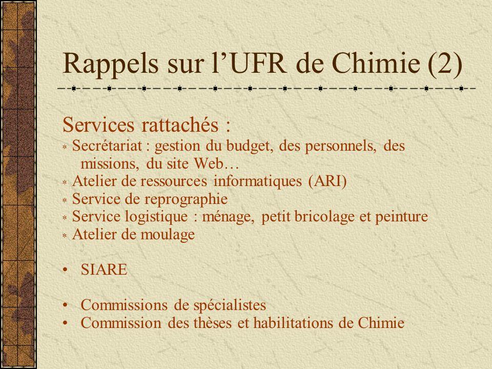 Rappels sur lUFR de Chimie (2) Services rattachés : * Secrétariat : gestion du budget, des personnels, des missions, du site Web… * Atelier de ressour