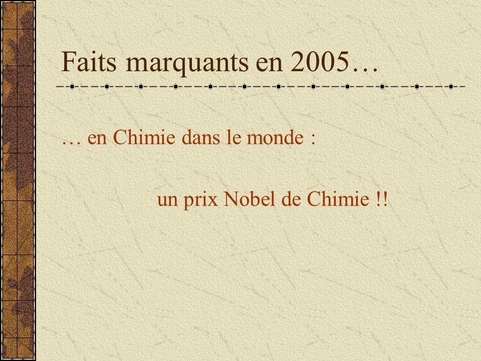 Faits marquants en 2005… … en Chimie dans le monde : un prix Nobel de Chimie !!