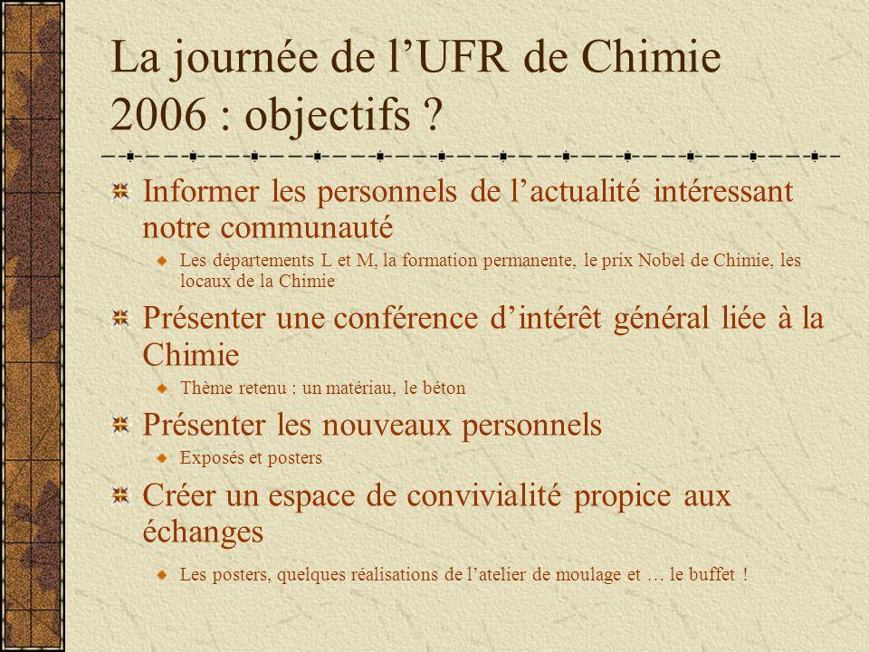 La journée de lUFR de Chimie 2006 : objectifs ? Informer les personnels de lactualité intéressant notre communauté Les départements L et M, la formati