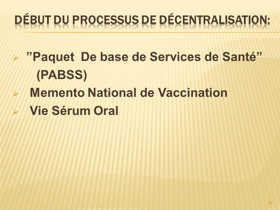 10 Paquet De base de Services de Santé (PABSS) Memento National de Vaccination Vie Sérum Oral