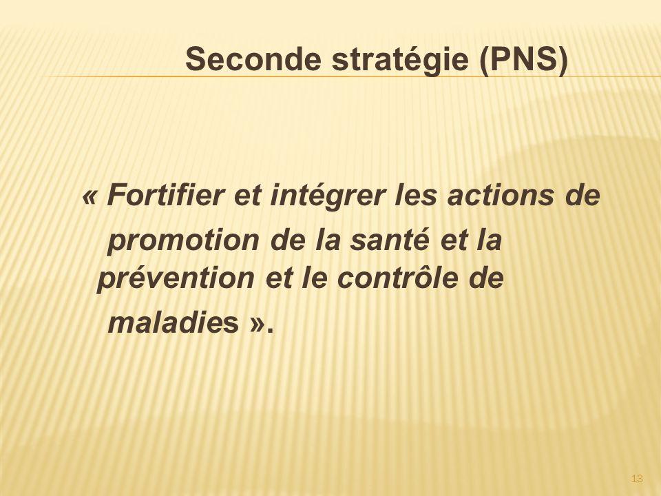 13 Seconde stratégie (PNS) « Fortifier et intégrer les actions de promotion de la santé et la prévention et le contrôle de maladies ».