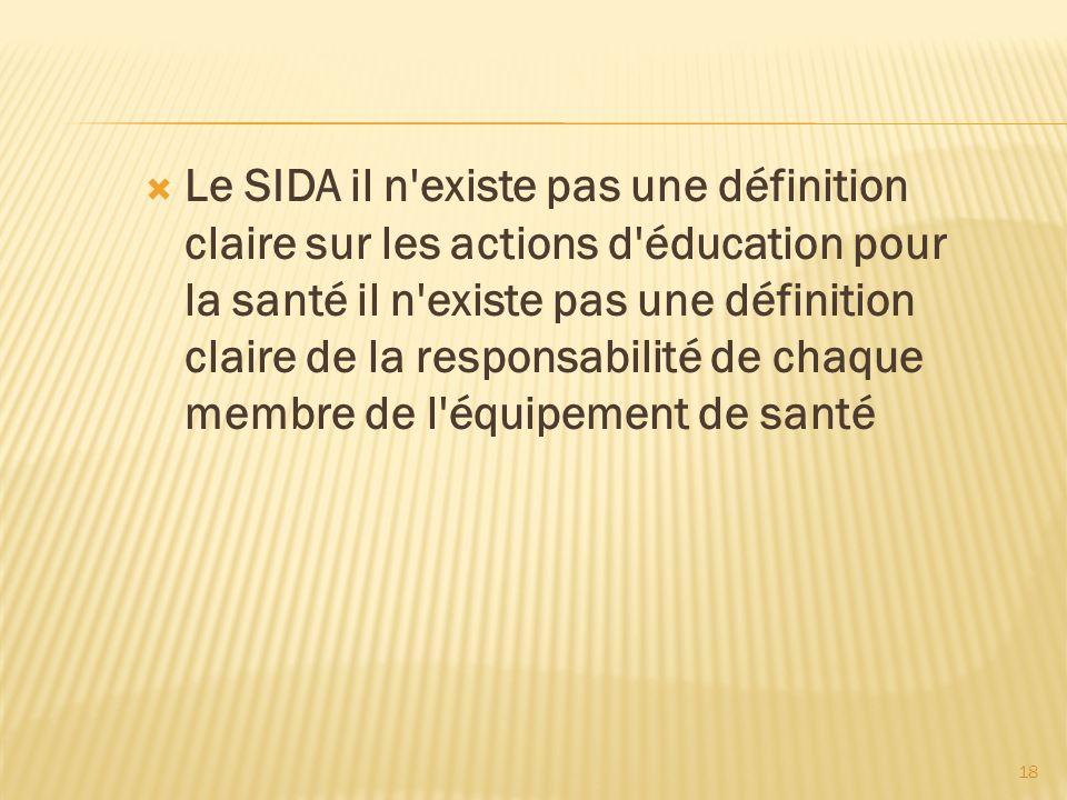 18 Le SIDA il n'existe pas une définition claire sur les actions d'éducation pour la santé il n'existe pas une définition claire de la responsabilité