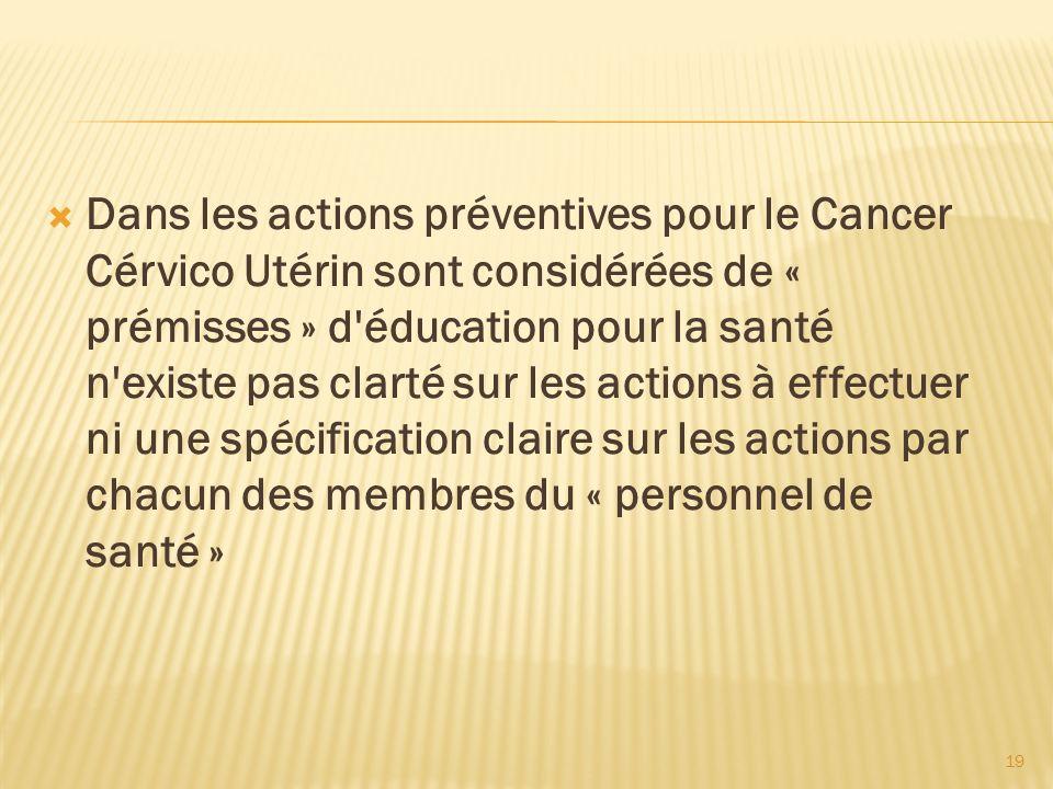 19 Dans les actions préventives pour le Cancer Cérvico Utérin sont considérées de « prémisses » d'éducation pour la santé n'existe pas clarté sur les