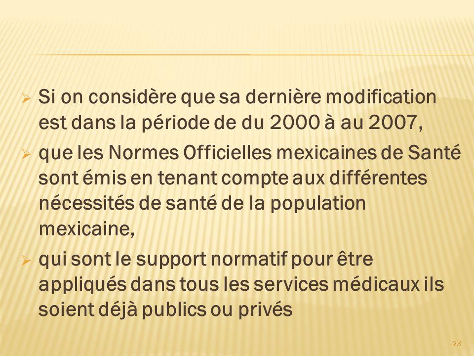 23 Si on considère que sa dernière modification est dans la période de du 2000 à au 2007, que les Normes Officielles mexicaines de Santé sont émis en