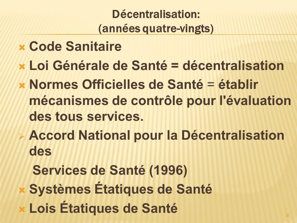 8 Décentralisation: (années quatre-vingts) Code Sanitaire Loi Générale de Santé = décentralisation Normes Officielles de Santé = établir mécanismes de