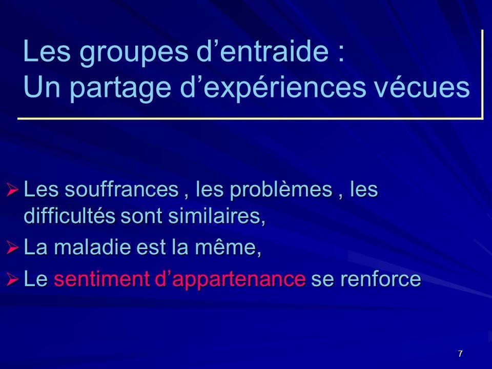 8 Le groupe dentraide permet : Vivre lamitié, Renouer avec une convivialité saine, Se sentir aidé de façon désintéressée,