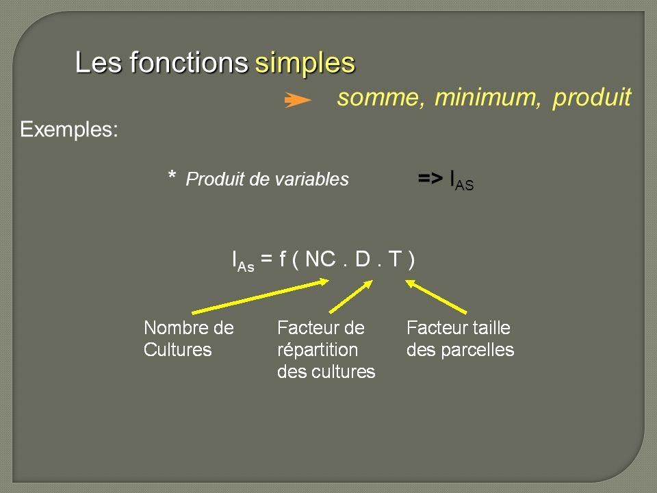 * Produit de variables => I AS Les fonctions simples somme, minimum, produit Exemples: