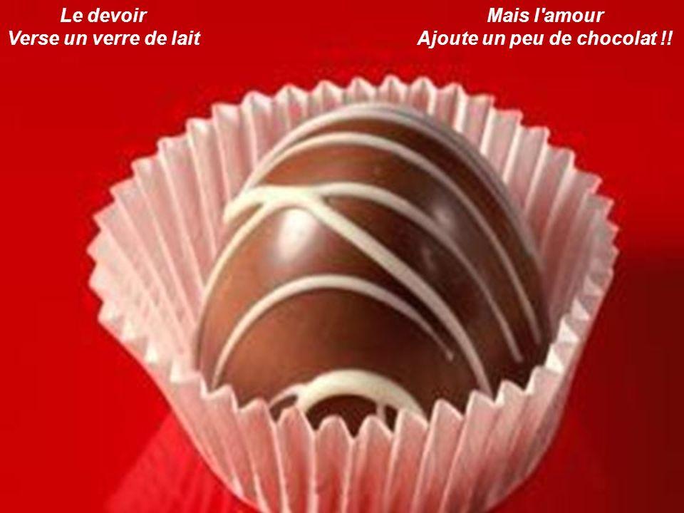Le devoir Verse un verre de lait Mais l'amour Ajoute un peu de chocolat !!