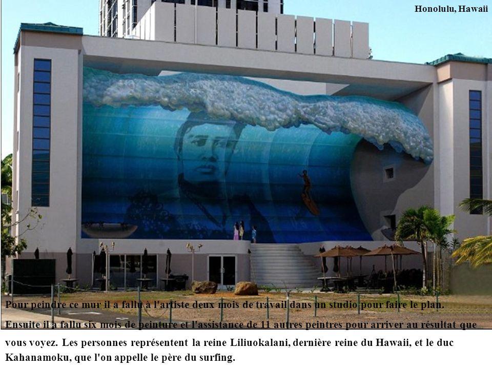 Honolulu, Hawaii Pour peindre ce mur il a fallu à l'artiste deux mois de travail dans un studio pour faire le plan. Ensuite il a fallu six mois de pei