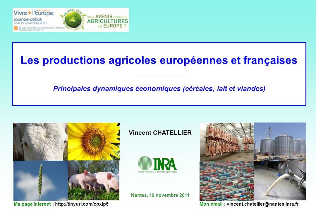 Les productions agricoles européennes et françaises Principales dynamiques économiques (céréales, lait et viandes) Vincent CHATELLIER Nantes, 19 novem