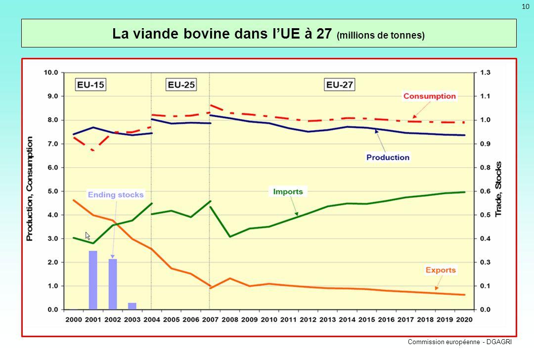 10 La viande bovine dans lUE à 27 (millions de tonnes) Commission européenne - DGAGRI