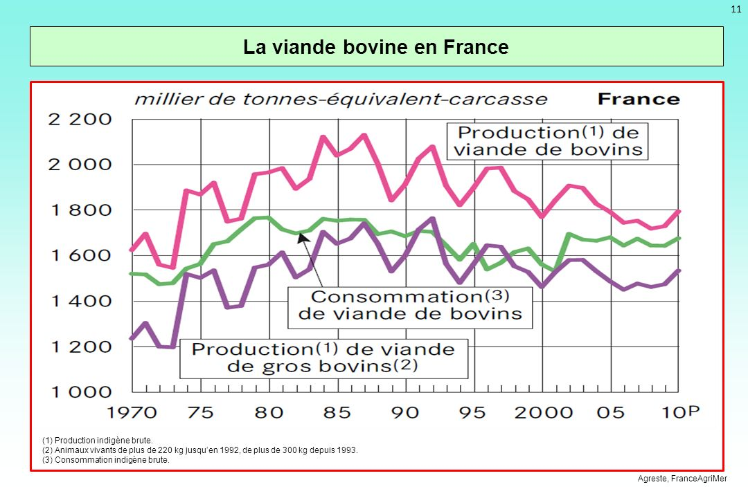 11 La viande bovine en France Agreste, FranceAgriMer (1) Production indigène brute.