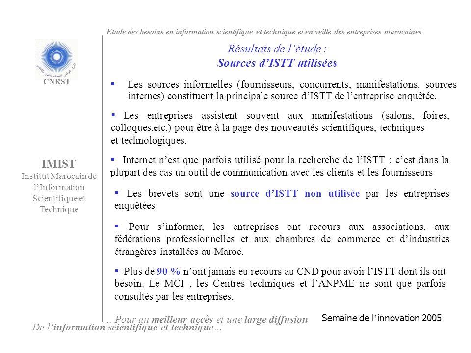 Les sources informelles (fournisseurs, concurrents, manifestations, sources internes) constituent la principale source dISTT de lentreprise enquêtée.