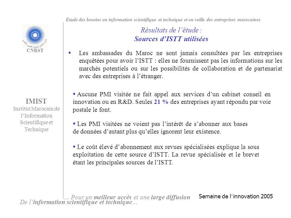 Les ambassades du Maroc ne sont jamais consultées par les entreprises enquêtées pour avoir lISTT : elles ne fournissent pas les informations sur les marchés potentiels ou sur les possibilités de collaboration et de partenariat avec des entreprises à létranger.