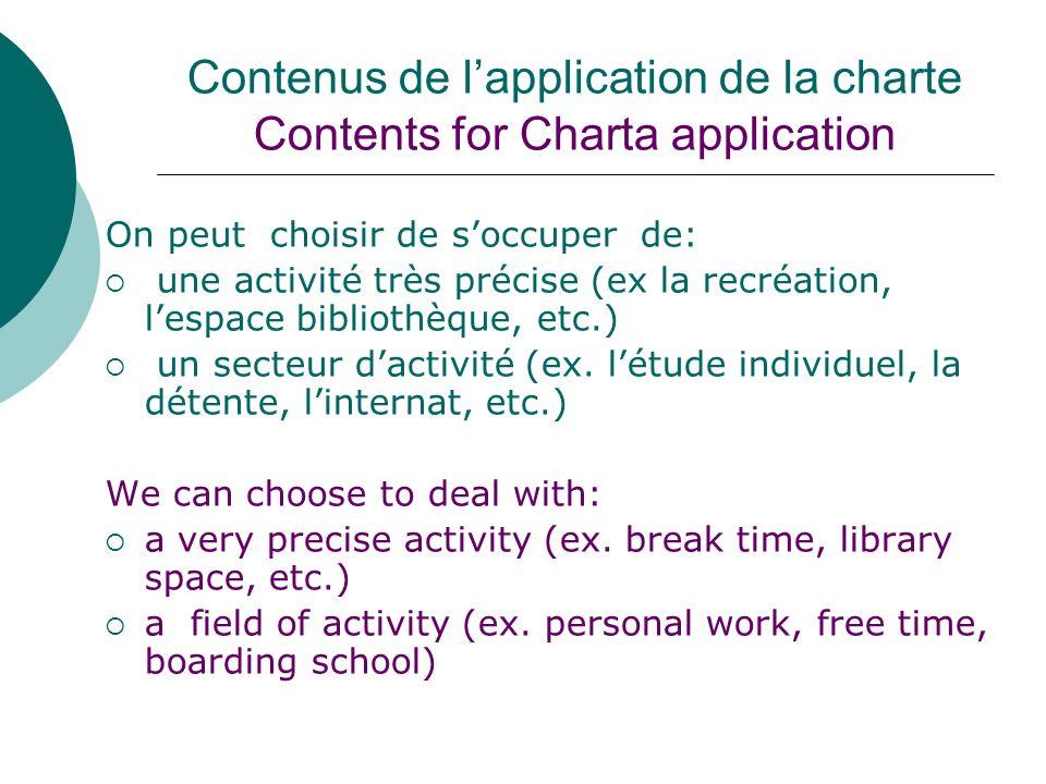 Contenus de lapplication de la charte Contents for Charta application On peut choisir de soccuper de: une activité très précise (ex la recréation, les