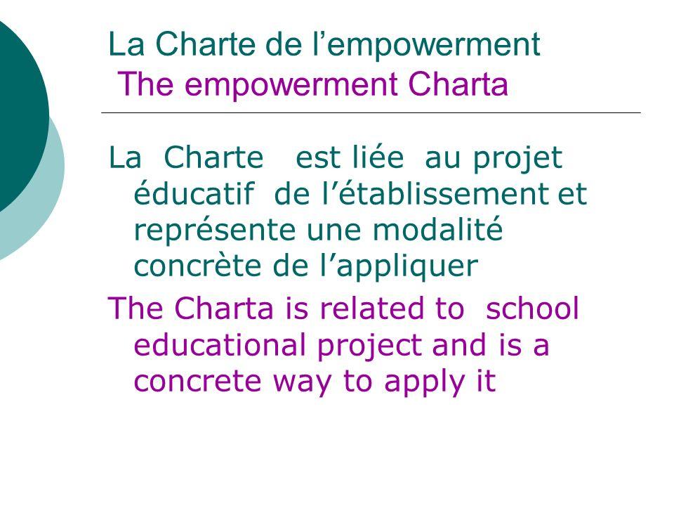 La Charte de lempowerment The empowerment Charta La Charte est liée au projet éducatif de létablissement et représente une modalité concrète de lappli